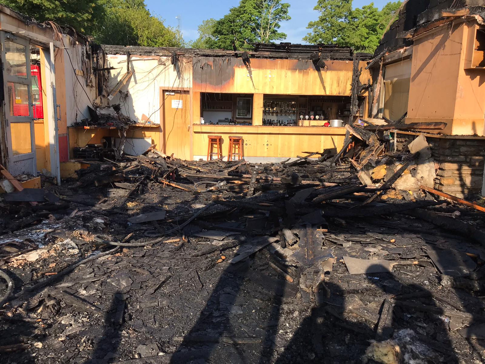 Clubhouse damage from fire